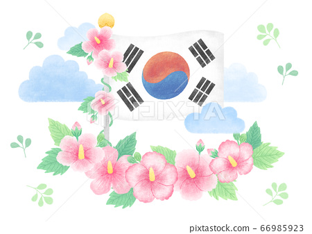 The National flag and National Flower of South Korea vector illustration. 014 66985923