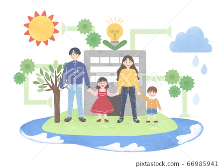 Eco green energy lifestyle concept in flat design illustration. 009 66985941