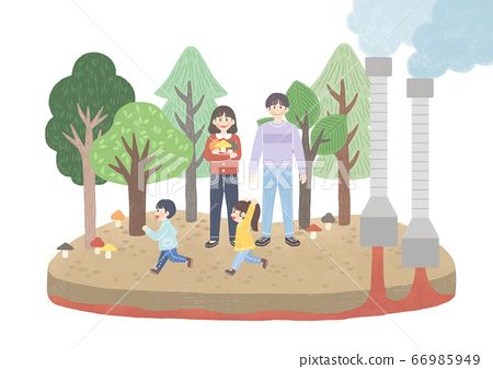 Eco green energy lifestyle concept in flat design illustration. 003 66985949