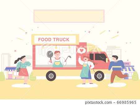 Local market conept, people selling or shopping illustration. 010 66985965