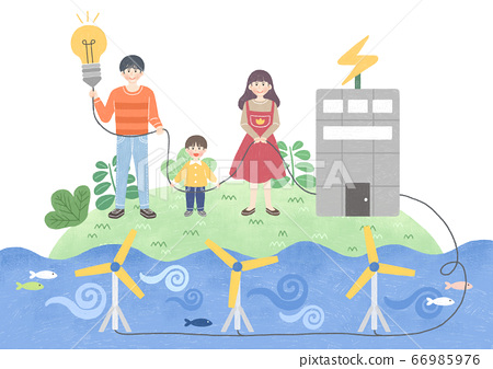 Eco green energy lifestyle concept in flat design illustration. 002 66985976