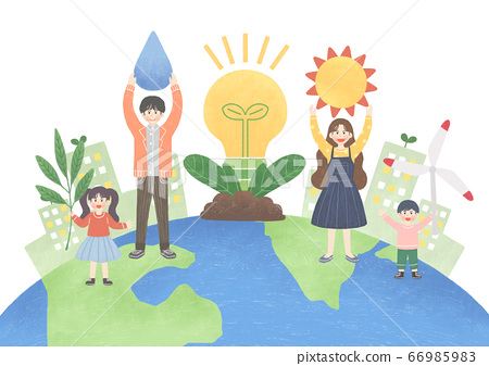Eco green energy lifestyle concept in flat design illustration. 014 66985983