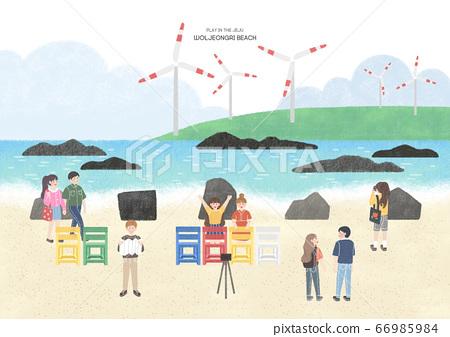 Travel concept, famous landmark in South Korea illustration. 004 66985984