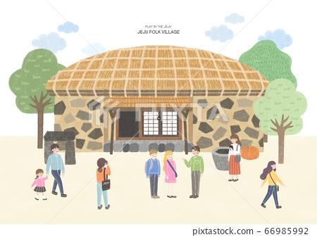 Travel concept, famous landmark in South Korea illustration. 003 66985992