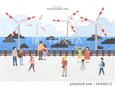 Travel concept, famous landmark in South Korea illustration. 005 66986012