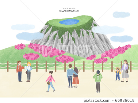 Travel concept, famous landmark in South Korea illustration. 001 66986019