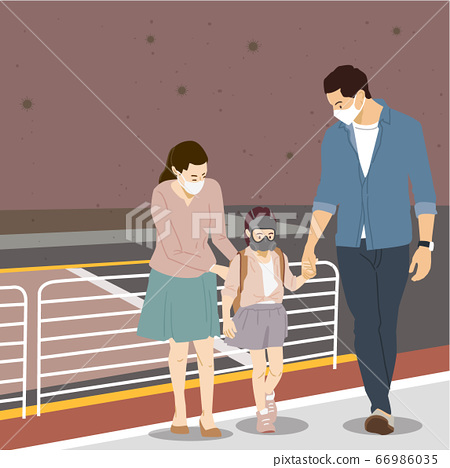 Air pollution concept, people face wearing masks illustration 002 66986035