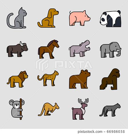 Set of different animals icon flat style illustration 002 66986038