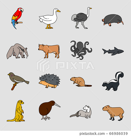 Set of different animals icon flat style illustration 007 66986039