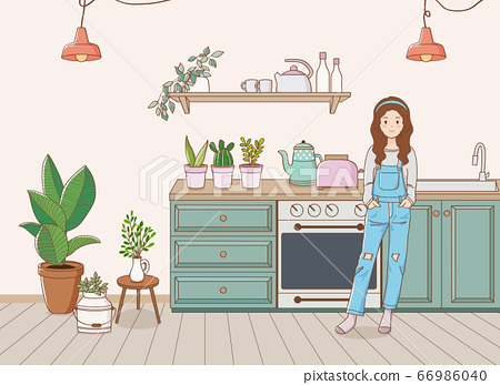 Indoor garden concept, houseplant with woman illustration 006 66986040