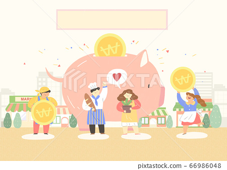 Local market conept, people selling or shopping illustration. 009 66986048
