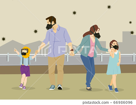 Air pollution concept, people face wearing masks illustration 005 66986096