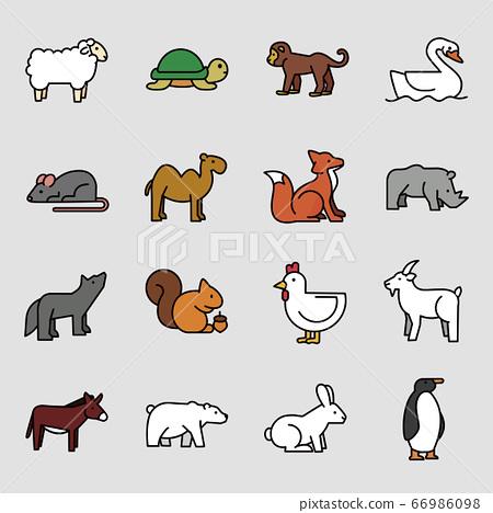 Set of different animals icon flat style illustration 005 66986098