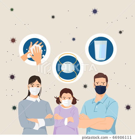 Air pollution concept, people face wearing masks illustration 008 66986111