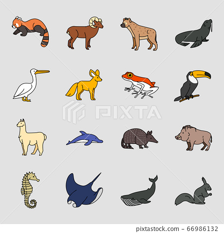 Set of different animals icon flat style illustration 010 66986132