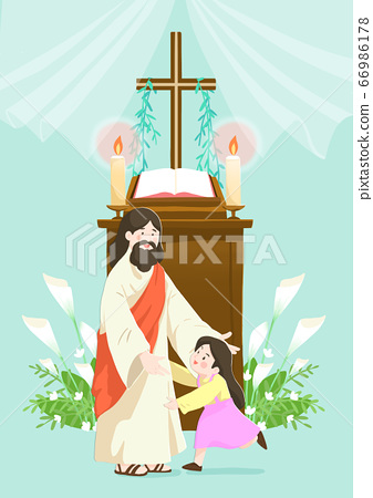 Catholic religion concept, Jesus with people cartoon christian illustration 005 66986178