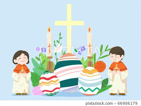 Catholic religion concept, Jesus with people cartoon christian illustration 011 66986179