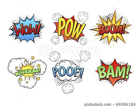 Comic speech bubbles in pop art style illustration 001 66986180