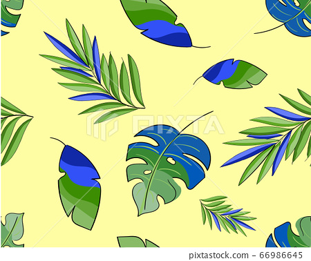 Seamless pattern with Exotic leaves on yellow 66986645