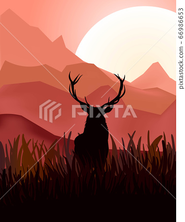 Animated rain deer in wild nature landscape at 66986653