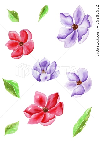 Set vector of flowers and leaves traditional 66986682
