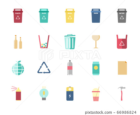 Trash can icons and recycle icons set,Vector illustrations. 66986824