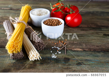 bunch of Italian spaghetti, noodles soba and 66987055