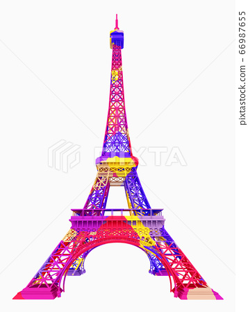 Eiffel Tower in colors isolated on white background 66987655