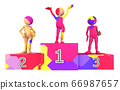 Winners podium in colors with 3D figures isolated on white background 66987657