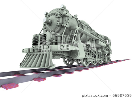 Old steam locomotive isolated on white background 66987659