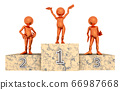 Winners podium with 3D figures isolated on white background 66987668