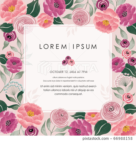 Vector illustration of a beautiful floral frame with spring flowers. Design for banner, poster, card, invitation and scrapbook 66988158