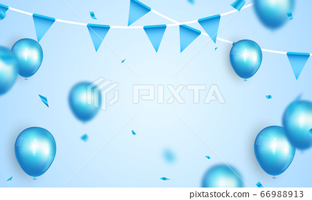 Celebration party banner with Blue color balloons 66988913
