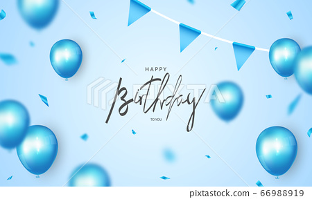 Happy Birthday banner blue celebration background 66988919