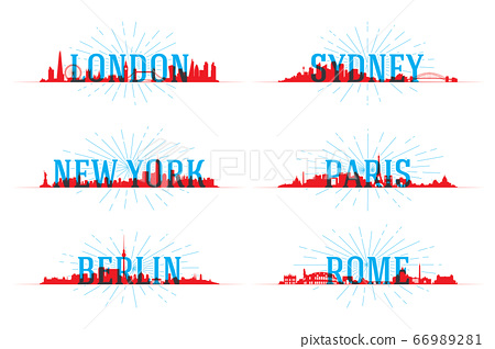 Set of vector city skyline world 66989281