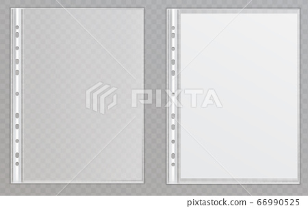 Vector transparent plastic files. Cellophane folders to protect documents 66990525