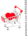 Shopping cart with a heart symbol 66992889