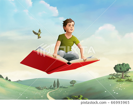 Children flying on a book 66993965