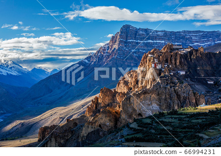 Dhankar monastry perched on a cliff in Himalayas, India 66994231