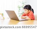 집에서 온라인 학습을하는 여자 66995547