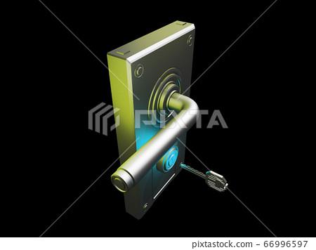 門把手和鑰匙(安全圖像黑色背景) 66996597