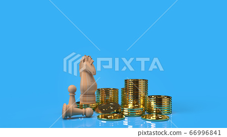 The knight chess on gold coins 3d rendering for business content. 66996841