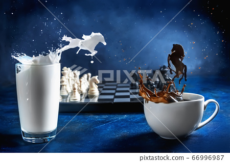 Creative photography of chess. horse stroke. International Chess Day 66996987
