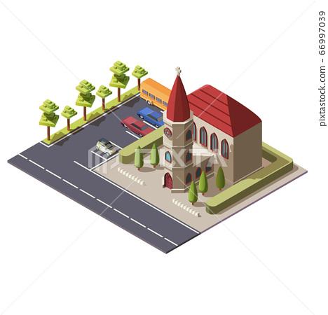 Isometric christian catholic church building 66997039