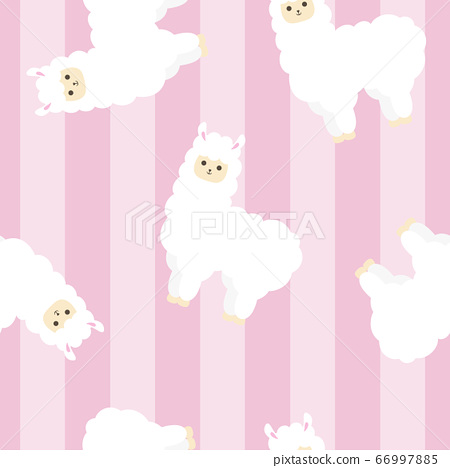 羊駝無縫模式粉紅色條紋 66997885