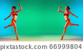 Fashion portrait of seductive girl in stylish swimwear posing on a bright green background. Summertime, beach season 66999804