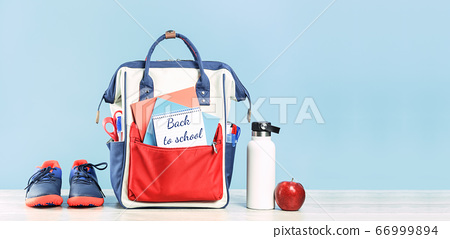 Backpack with school red and blue stationery with 66999894