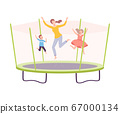 Mother with her Son and Daughter Jumping on Trampoline, Parent and Kids Having Fun Together, Active Healthy Lifestyle Flat Style Vector Illustration 67000134