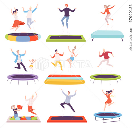 People Bouncing on Trampoline, Happy Men, Women and Kids Having Fun Together, Active Healthy Lifestyle Flat Style Vector Illustration 67000188