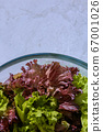 Mix of green and red lettuce. Vertical background. 67001026